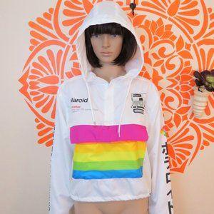 NWT Retro White Rainbow Polaroid Windbreaker L